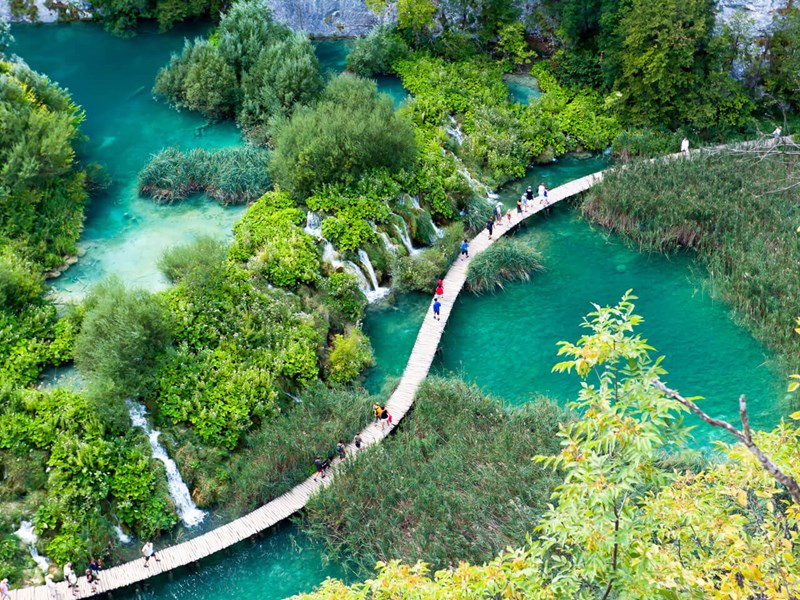 Walkway through Plitvice lakes