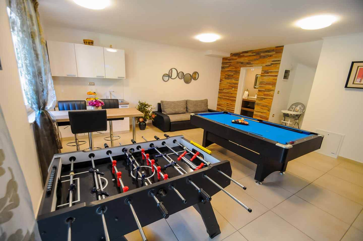 Table football and snooker