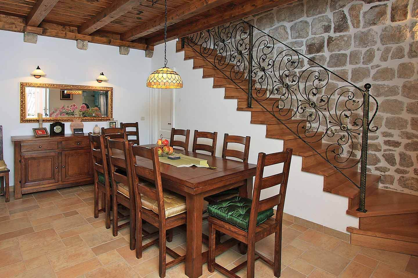 Dining table and stairs