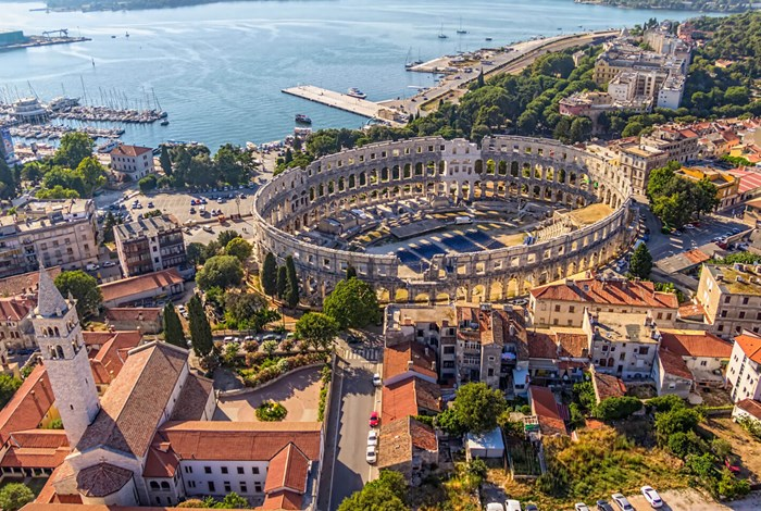 Pula amphitheatre aerial view